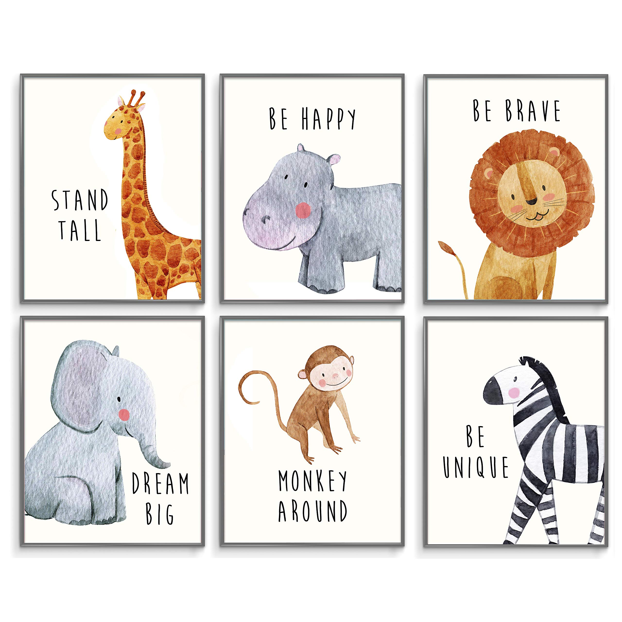 Safari Baby Animals, Baby Nursery Decor, Baby Room Decor, Playroom Wall Art Decor Prints, Boys & Girls Room, Kids Bedroom Inspirational Quotes, Motivational Art, Inspirational Art. Set of 6 8x10in. by Throwback Traits