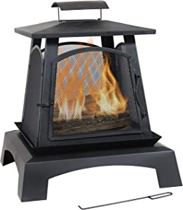 Sunnydaze Pagoda Style Steel Fire Pit - Metal Wood-Burning Enclosed Outdoor Fireplace with Log Grate and Poker - Modern Bonfire for Backyard and Patio - 32-Inch