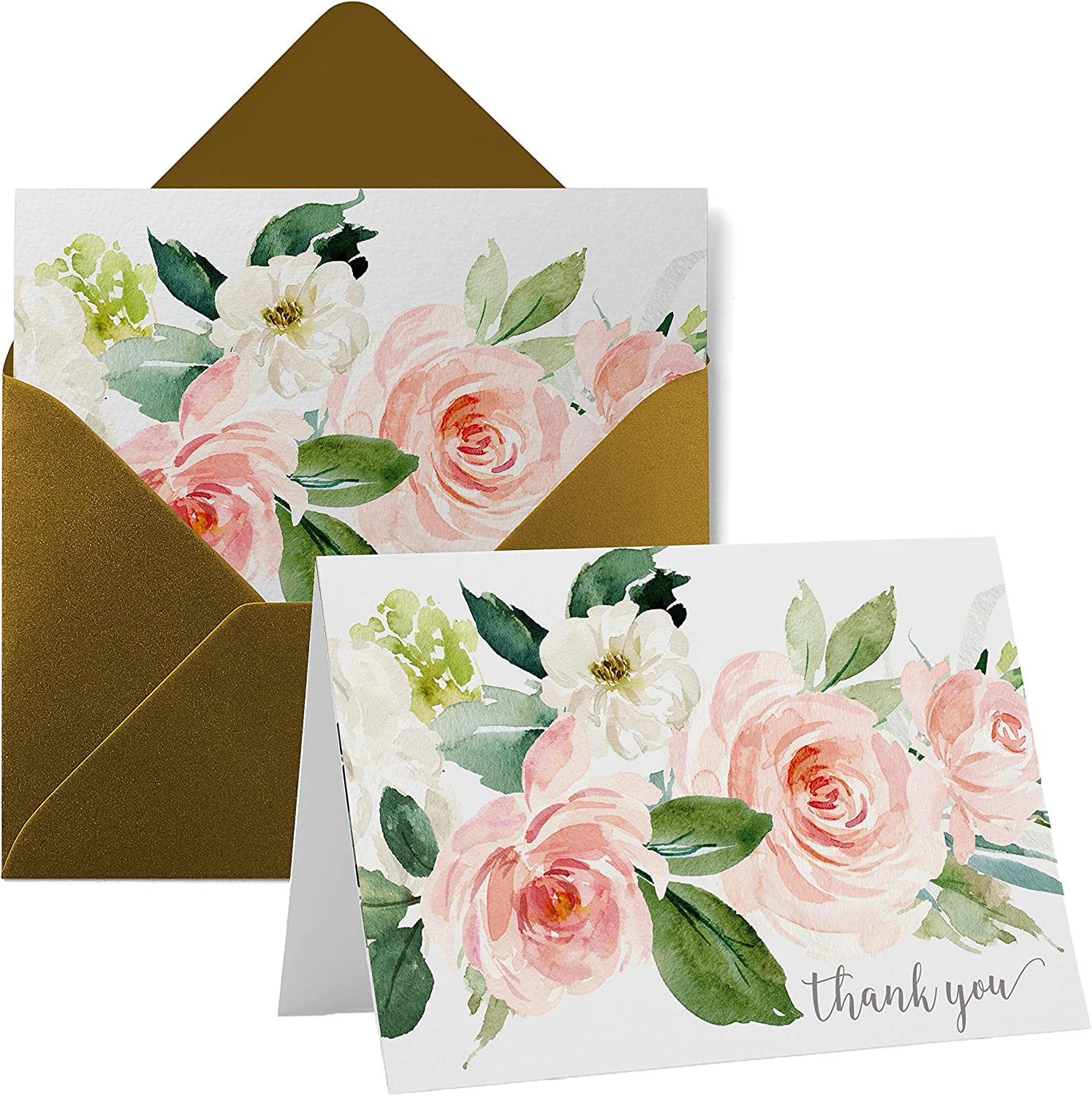 Graceful Floral Thank You Cards (20 Pack) Wedding – Bridal Shower – Engagement – Birthday - Graduation – Greenery Style - Everyday Folded Stationery Set with Gold Envelopes