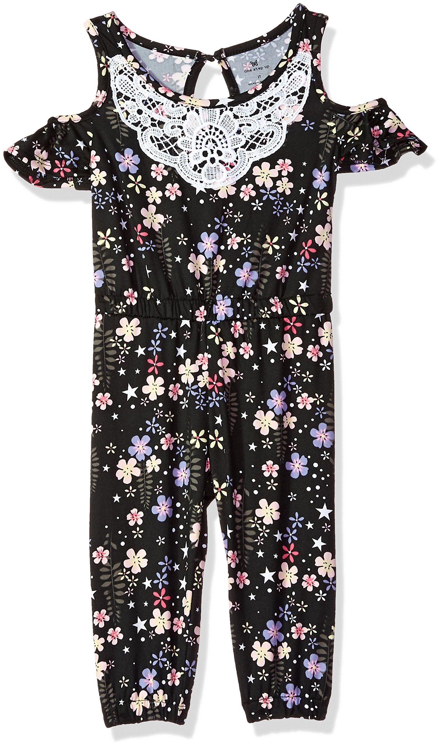 One Step Up Toddler Girls' Knit Jumpsuit, Black Floral, 3T