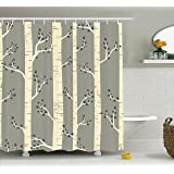 Grey Shower Curtain by Ambesonne, Birch Tree Branches Vintage Bohemian Contemporary Illustration of Nature, Fabric Bathroom Decor Set with Hooks, 70 Inches, Warm Taupe Pale Yellow