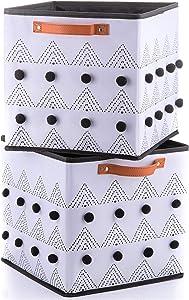 INYMA White Cube Storage Bins - Boho Storage - Cute Baskets - Foldable Fabric Organizer for Nursery Shelf Closet with Black Pom Poms, Set of 2 for Home Organizing, 11x11''