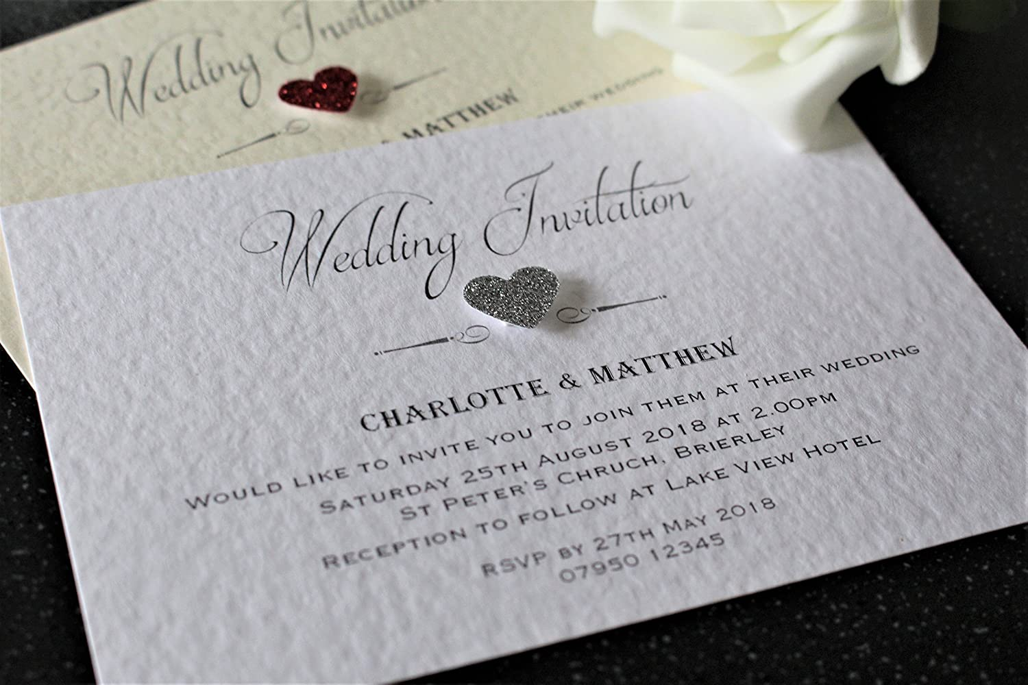 10 Personalised wedding or evening invitations with envelopes, Classic glitter heart, ivory or white hammered card