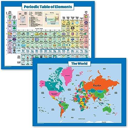 Juego de 2 pósteres con mapa del mundo para niños y tabla periódica de los elementos, gráfico de pared y póster de mesa periódica: Amazon.es: Oficina y papelería