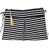 Waterproof Wristlet Clutch - Diaper Clutch with Front Dry Pocket, Cloth Diaper Wet Bag, Small Diaper Bag, Wet Wipes Case or Carrier - Made in USA (Audrey Stripe)