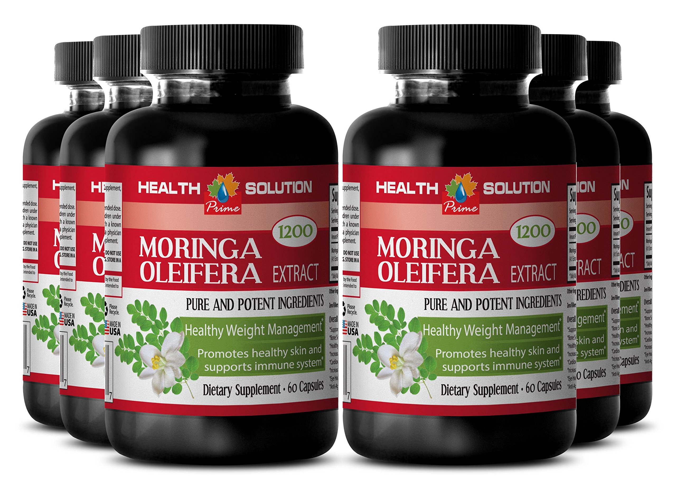 Moringa Organic Powder - MORINGA OLEIFERA EXTRACT 1200 - Pure Skin Clarifying Dietary Supplement 3 Bottles, 180 Capsules by Health Solution Prime (Image #5)