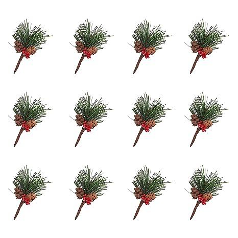 WANDIC Künstliche Kiefernplektren, 12 Stück, kleine künstliche Kieferbaum für Weihnachtsblumengestecke, Kränze und Urlaubsdek