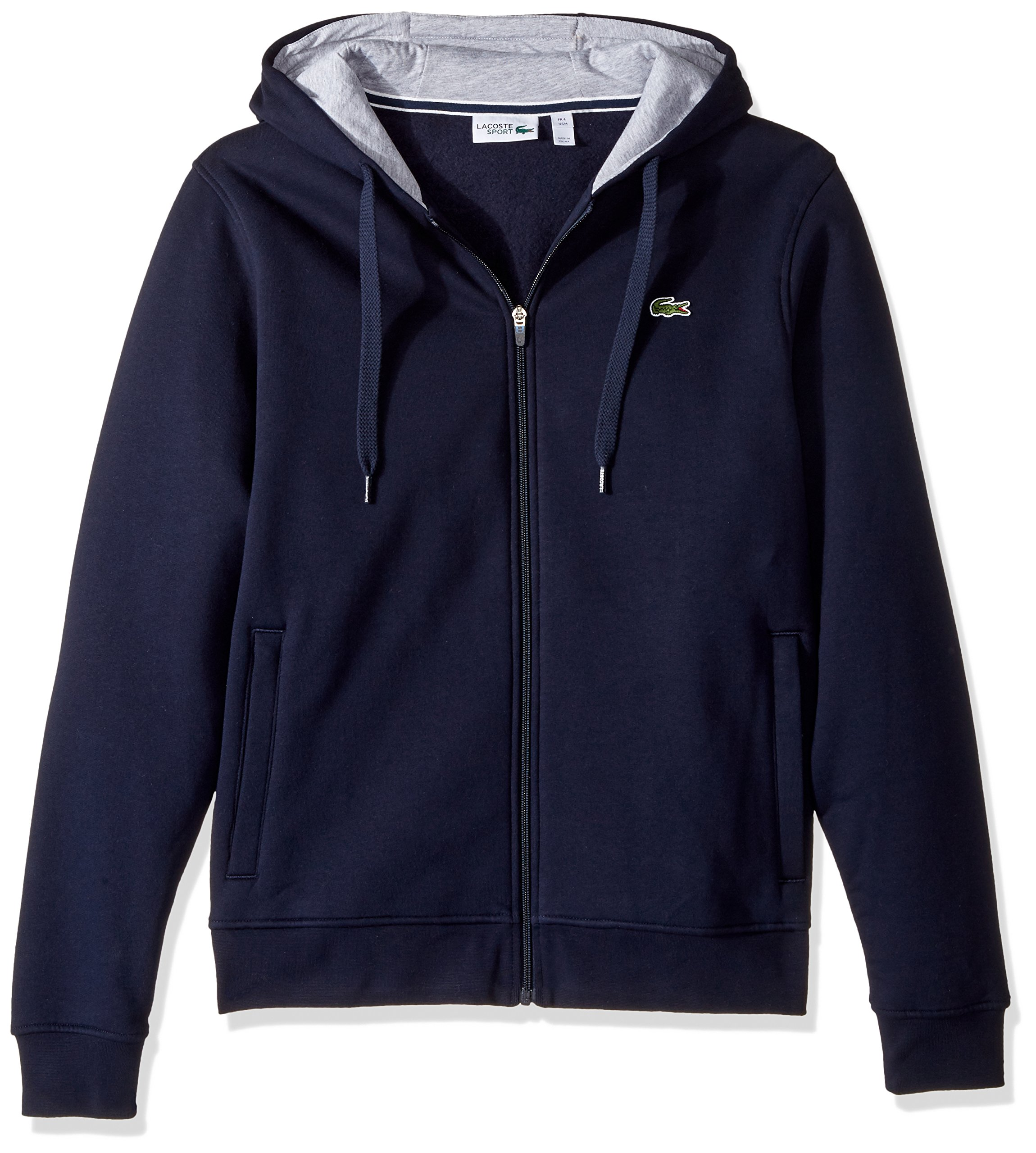 Lacoste Men's Full Zip Hoodie Fleece Sweatshirt, Navy Blue/Silver Chine, Medium