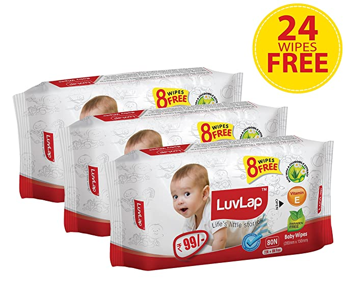 Luvlap Paraben Free Baby Wet Wipes with Aloe Vera - 3 Packs (216 Wipes + 24 Wipes Free)-Best-Popular-Product