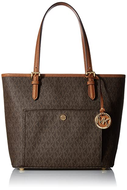 b06e5e55e6ea MICHAEL Michael Kors Jet Set Travel Medium Logo Tote  Amazon.in  Shoes    Handbags
