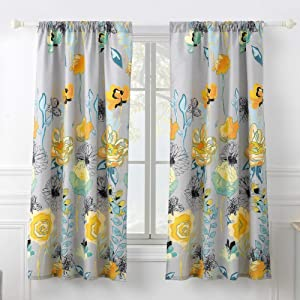 Greenland Home Watercolor Dream Curtain Panel Pair, 63-inch L, Gray