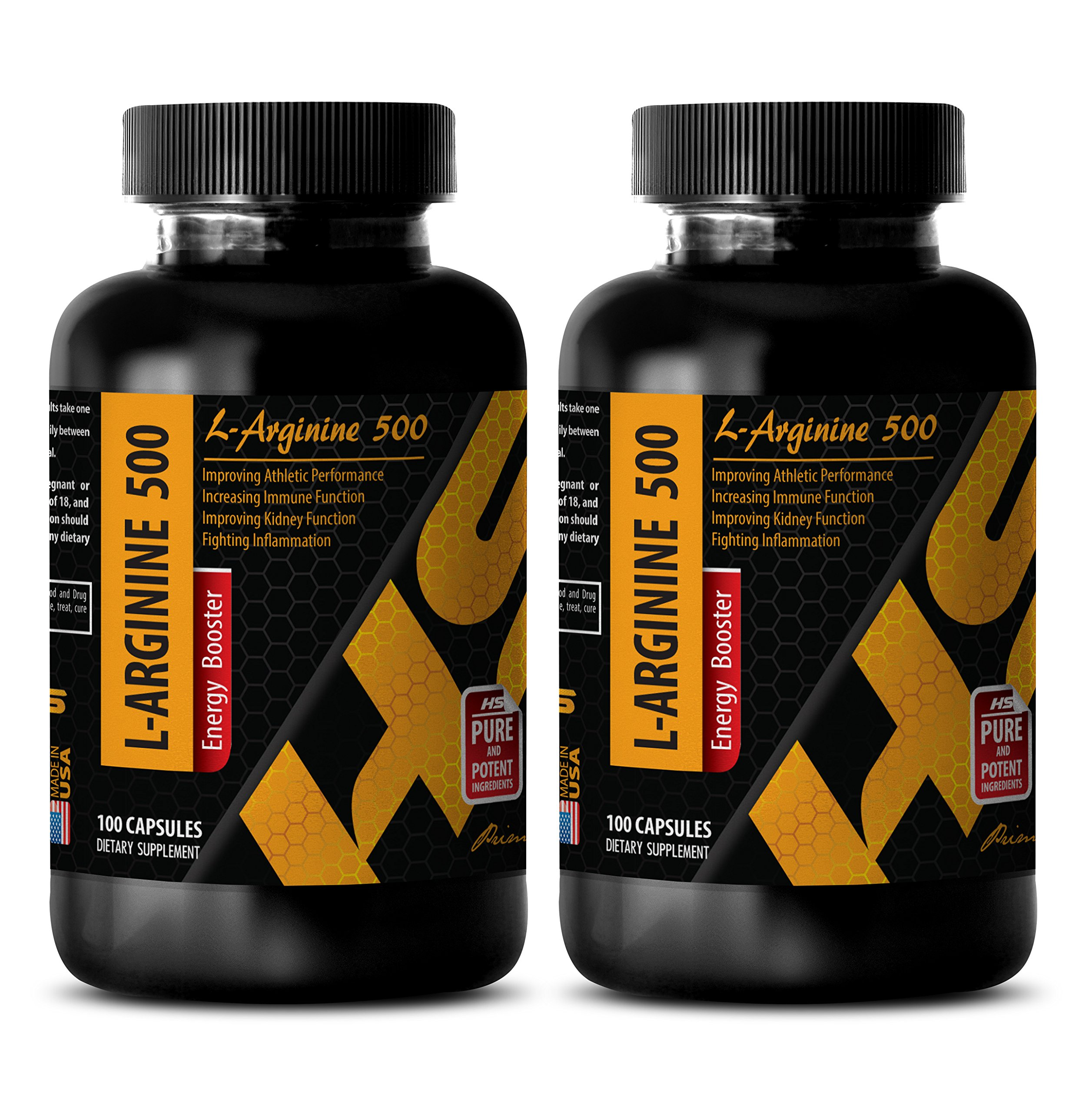 Weight loss and energy - L-ARGININE 500 - L-arginine for weight loss - 2 Bottles 200 Capsules by HS PRIME