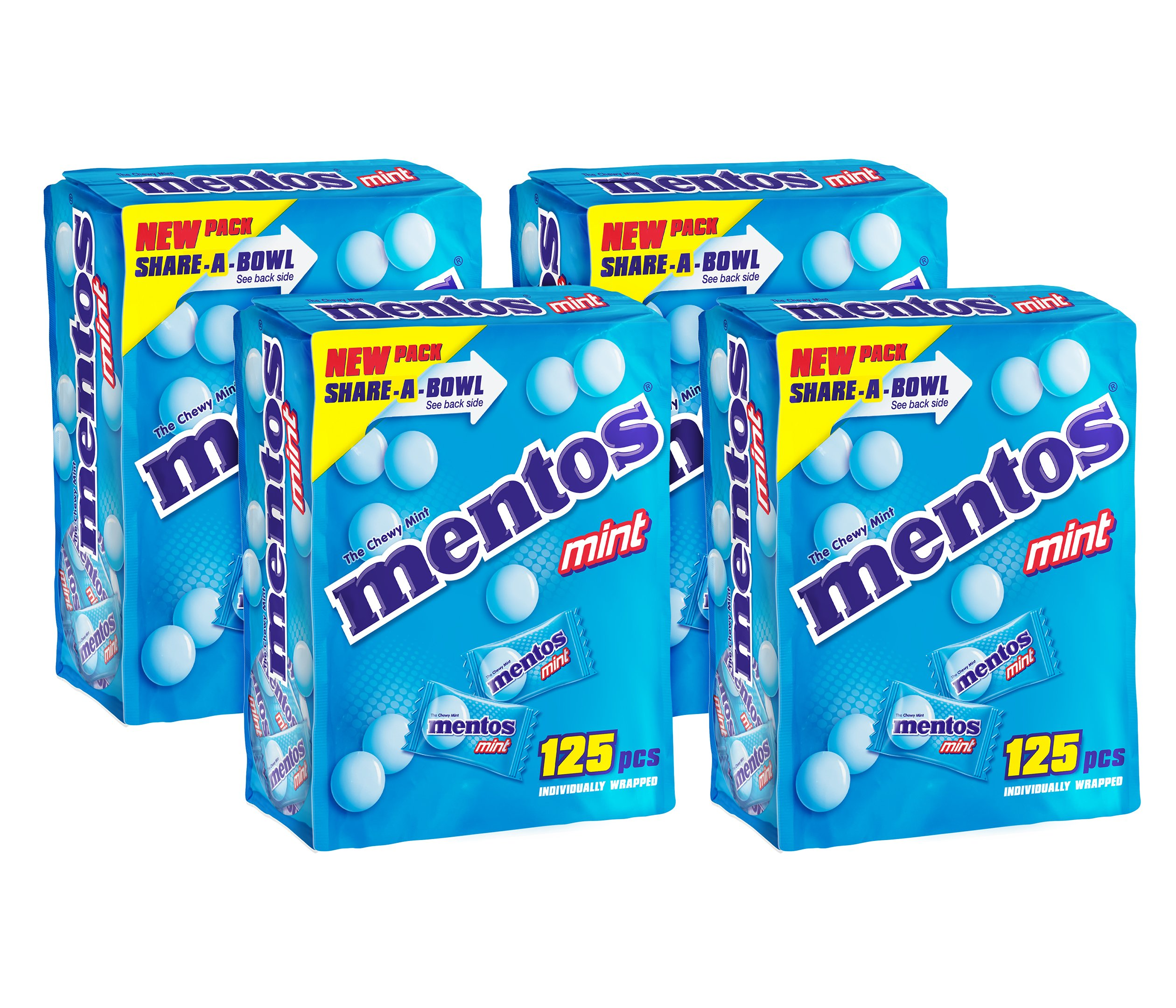 Mentos Chewy Mints in Mint Flavor, Non Melting, 125 Individually Wrapped Pieces in a Reclosable Bag (Pack of 4)