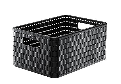 Rotho Country - Caja de almacenaje con efecto de mimbre, Negro, A5+