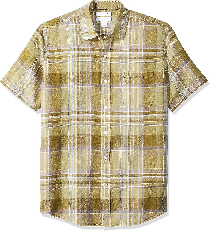 Camicia a maniche corte a quadri Regular Fit in lino Essentials da uomo