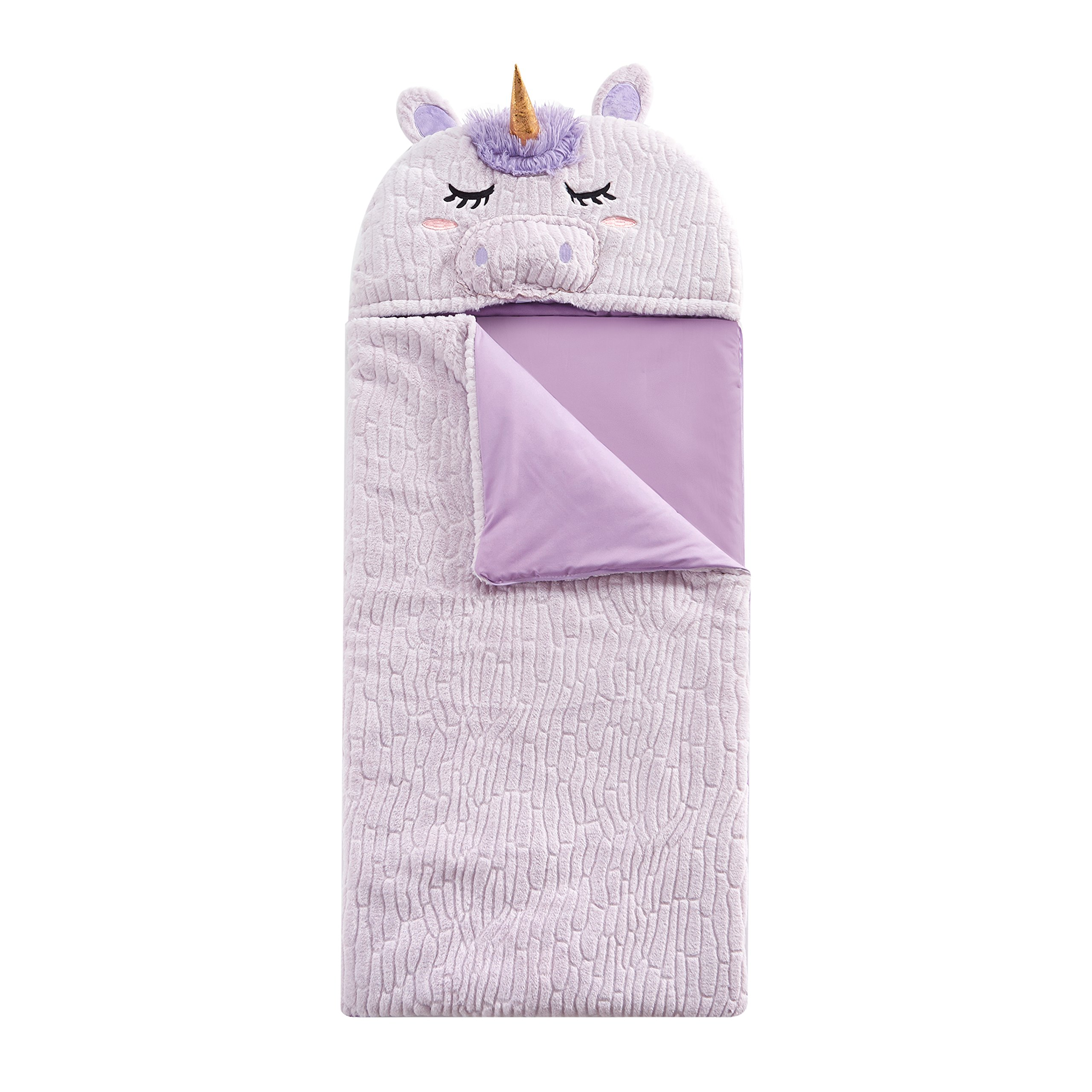 L&M Kids Girls Pink Unicorn Themed Sleeping Bag Toddler, Fantastical Creature Mystical Animal Horned Horse Motif Sleep Sack Blanket, Fuchsia Purple Light Travel Bed Roll, Faux Rabbit Fur