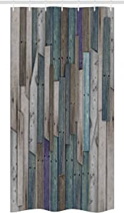 """Ambesonne Rustic Stall Shower Curtain, Image of Blue Grey Grunge Wood Planks Barn House Door Nails Country Life Theme Print, Fabric Bathroom Decor Set with Hooks, 36"""" X 72"""", Teal Purple"""