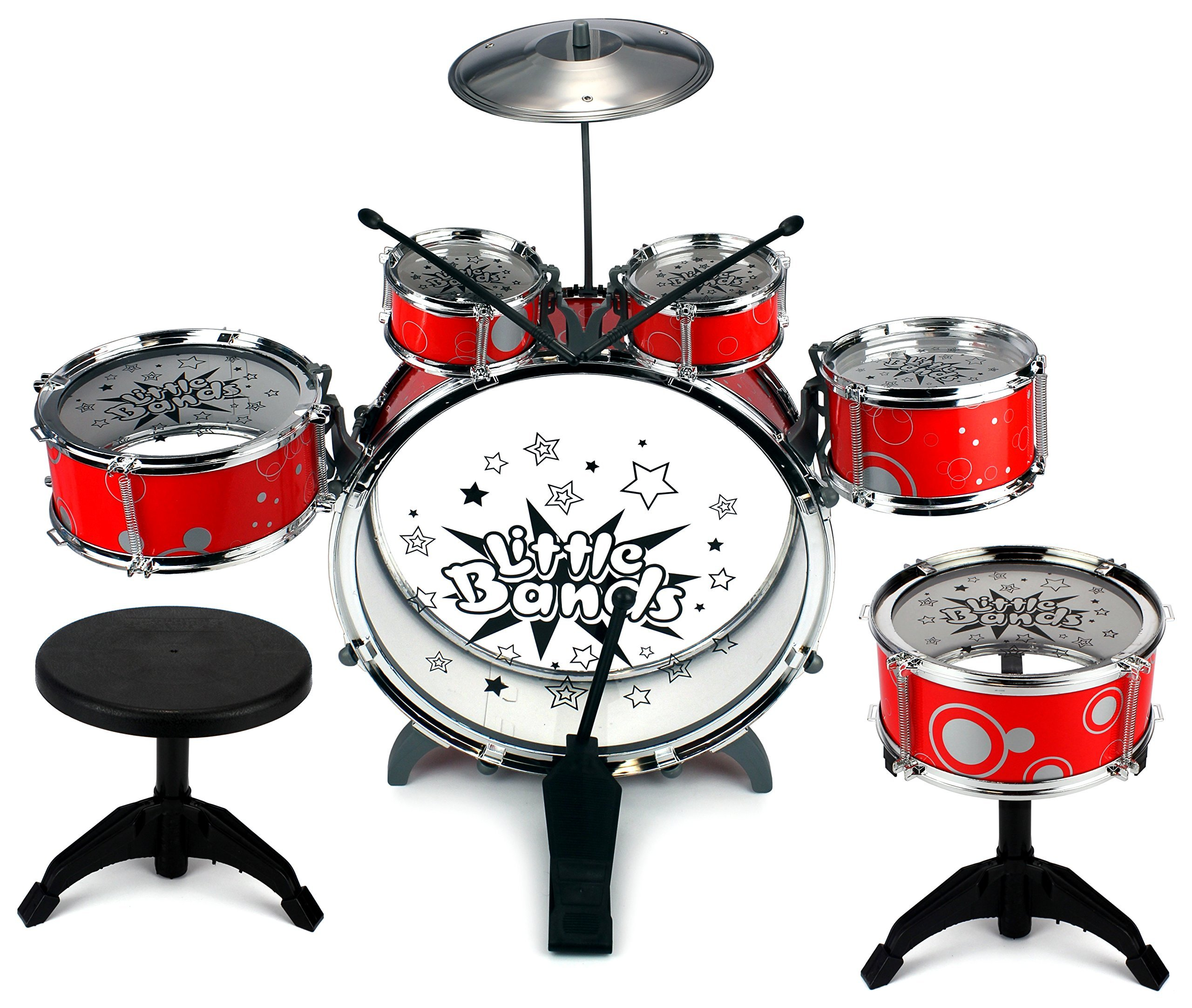 Velocity Toys Little Bands Jazz Rock Star Children's Kid's Toy Drum Musical Instrument Playset with 6 Drums, Cymbal, Chair, Kick Pedal, Drumsticks by Velocity Toys
