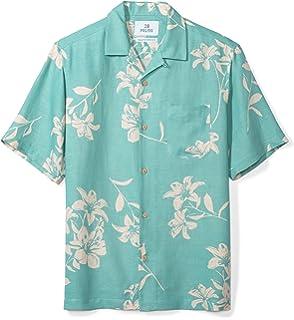 49729ff8 Amazon Brand - 28 Palms Men's Relaxed-Fit Silk/Linen Tropical Hawaiian Shirt