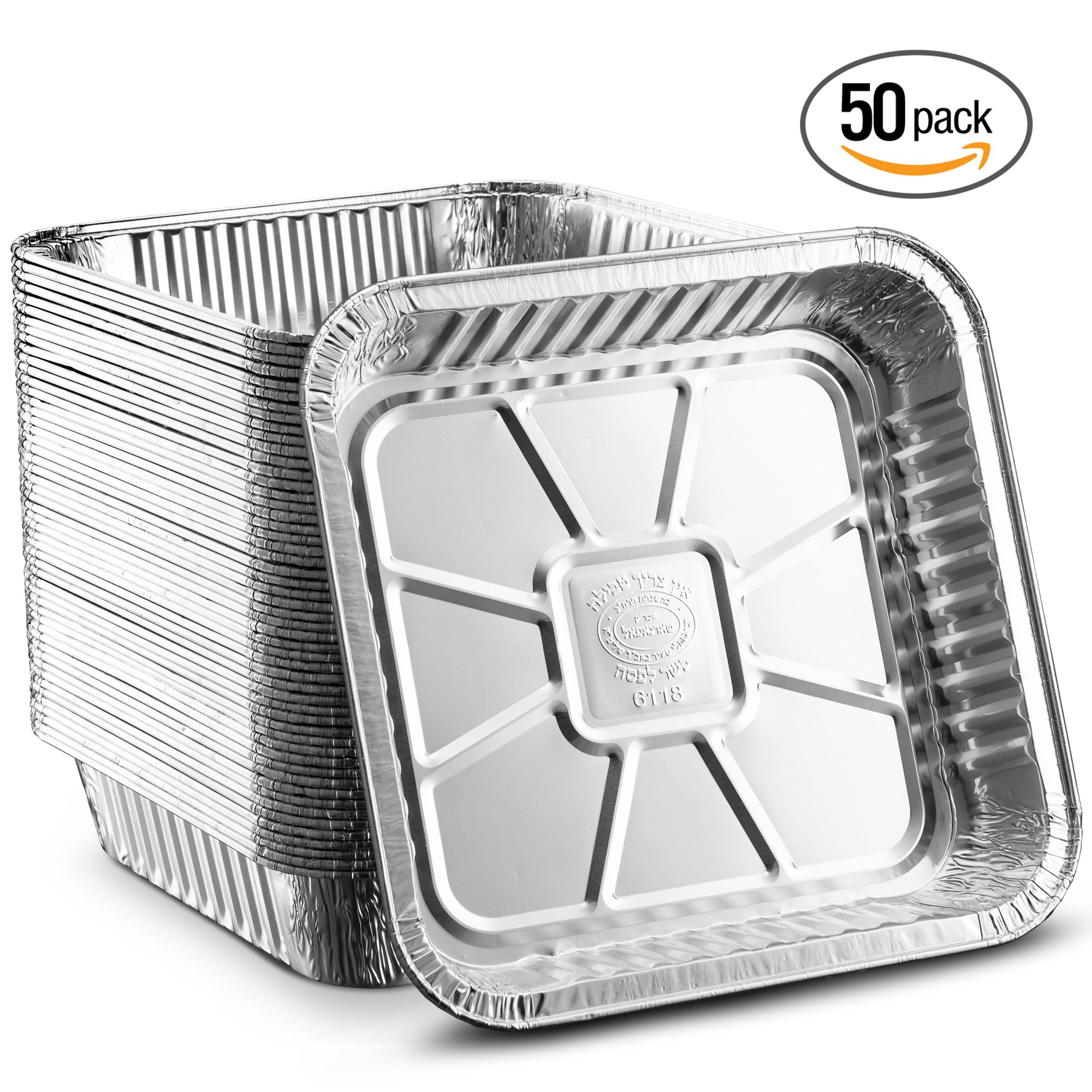Propack Square baking Pans 8''x8'' Disposable Aluminum Foil Baking Tins For Baking, Cooking, Broiling, Roasting Pack of 50