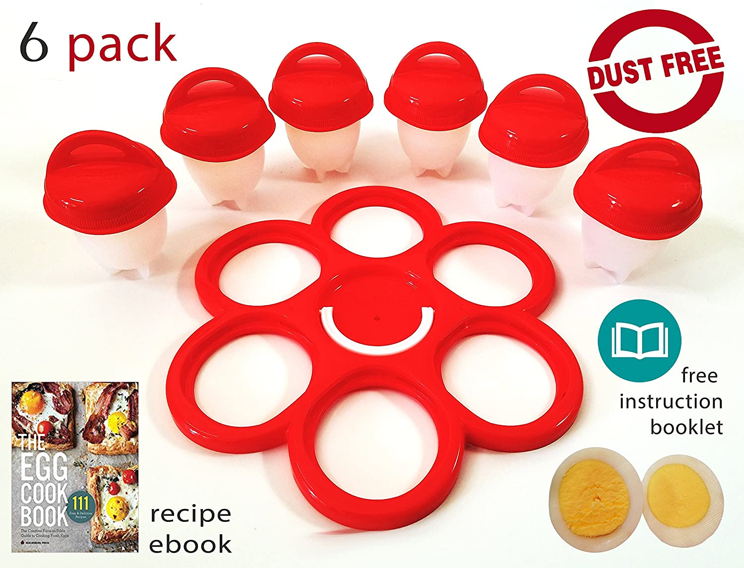 Shaliyan Egg Cooker-6 Pack 6 Exclusively and Holder 6 Nonstick Silicone Seen on TV Hard Boiler Poache, Standard, White/Red Perfectostore Egglets Egg Cooker - 6 Pack
