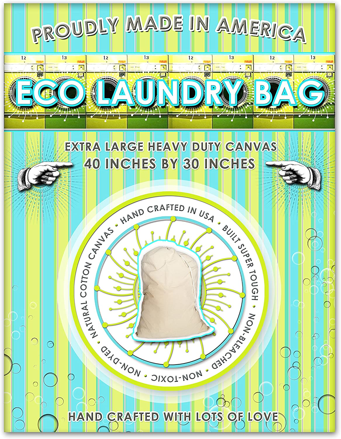 Zero Waste Moving Premium 2 Count-Eco Martha 2 Canvas Laundy Bags. Ideal, Laundry Hampers and Clothes Storage, 38 Inches Long by 26 Inches Wide, Light Brown