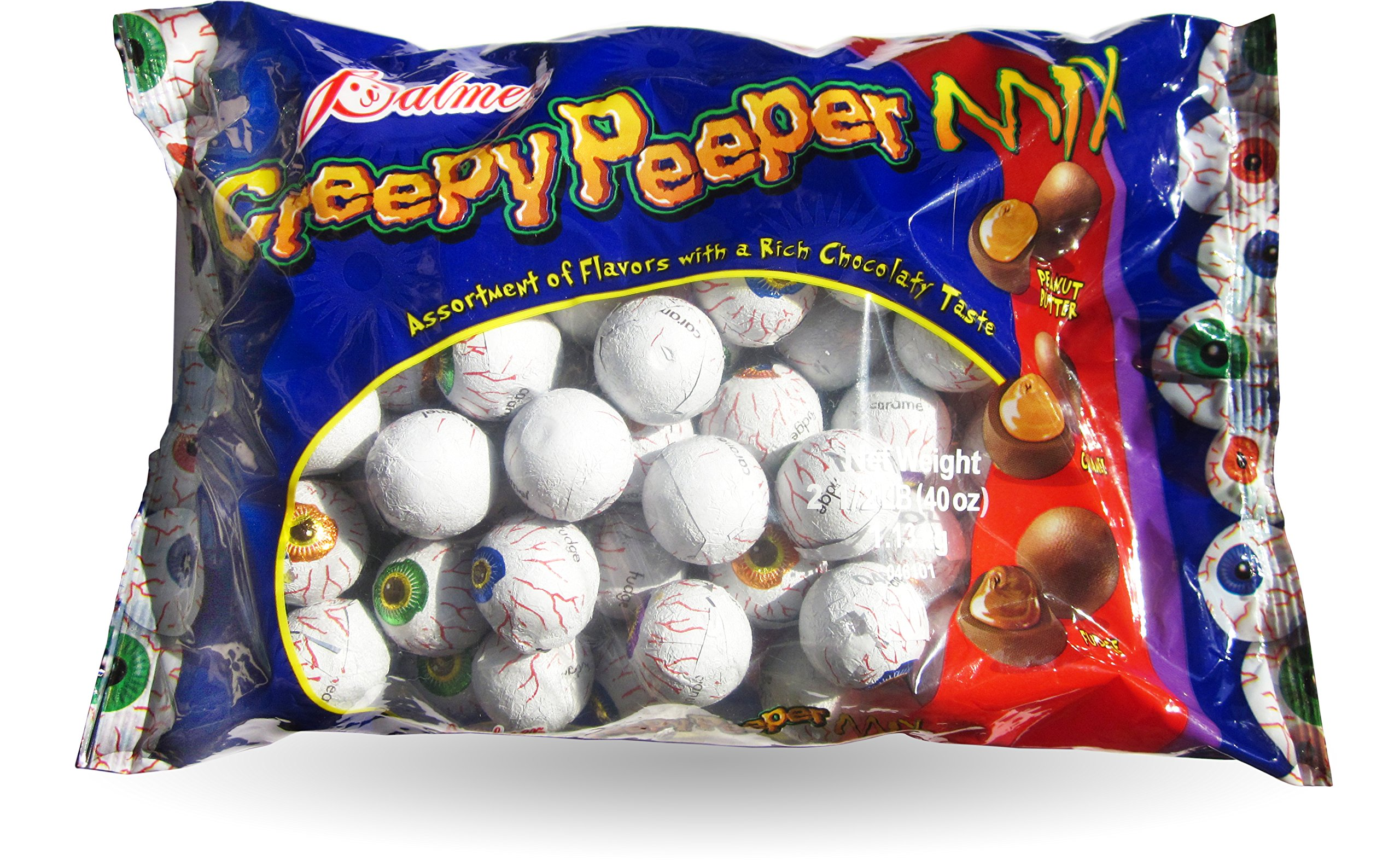 Palmer Creepy Peeper Mix Big 2.5 Lb Bag. (Fudge, Caramel, Peanut Butter) Eyeballs wrapped in Foil - Perfect for Halloween Snack Bowls! by Palmer