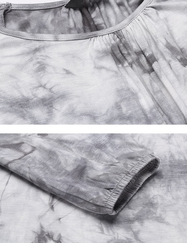 Parabler Damen Schulterfrei Blumenmuster V-Ausschnitt Langarmshirt Bluse Tunika Cut Out Tr/äger Tops Oberteil