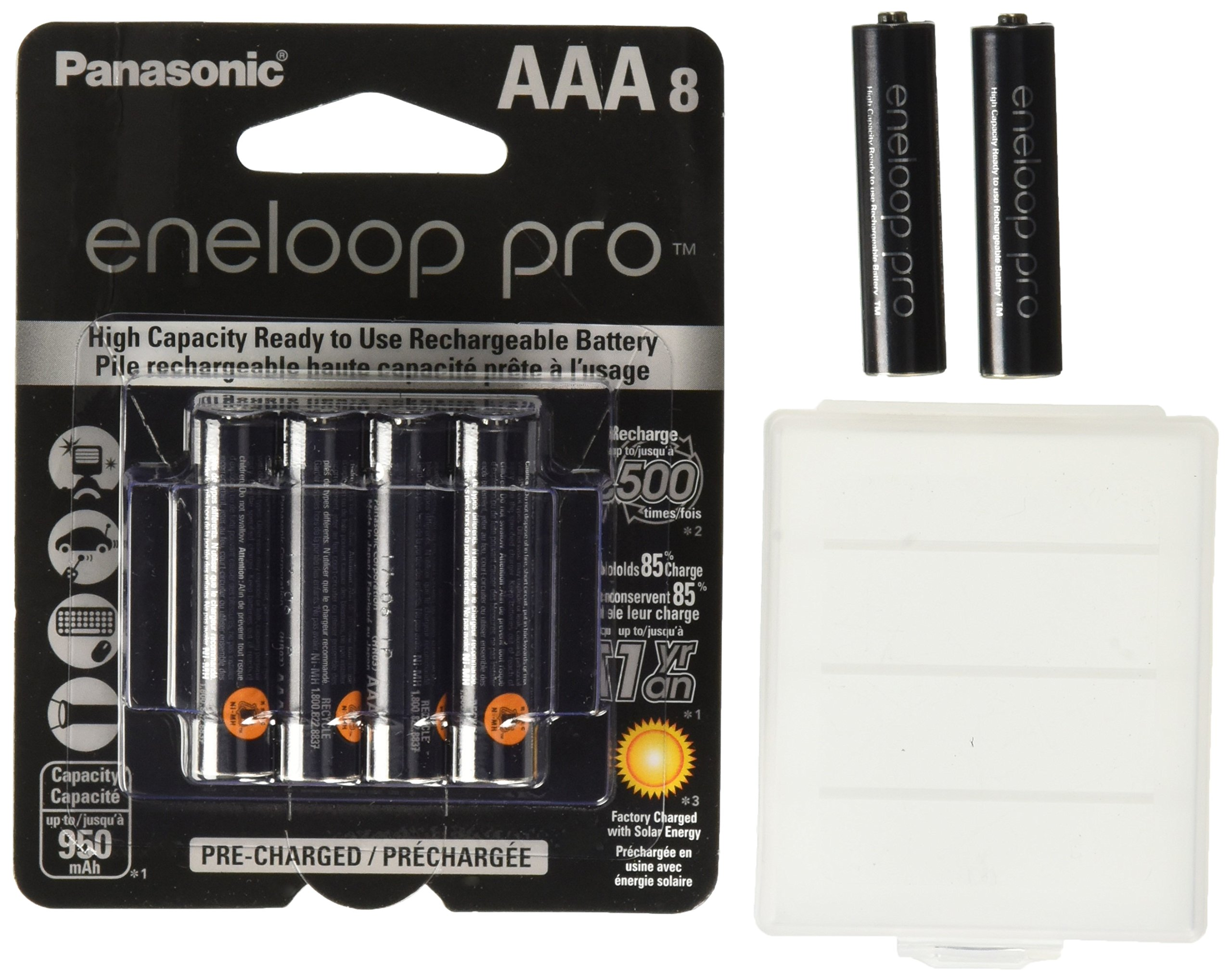 Eneloop Pro AAA 950mAh Min 900mAh High Capacity Ni-MH Pre-Charged Rechargeable Battery with Holder Pack of 10