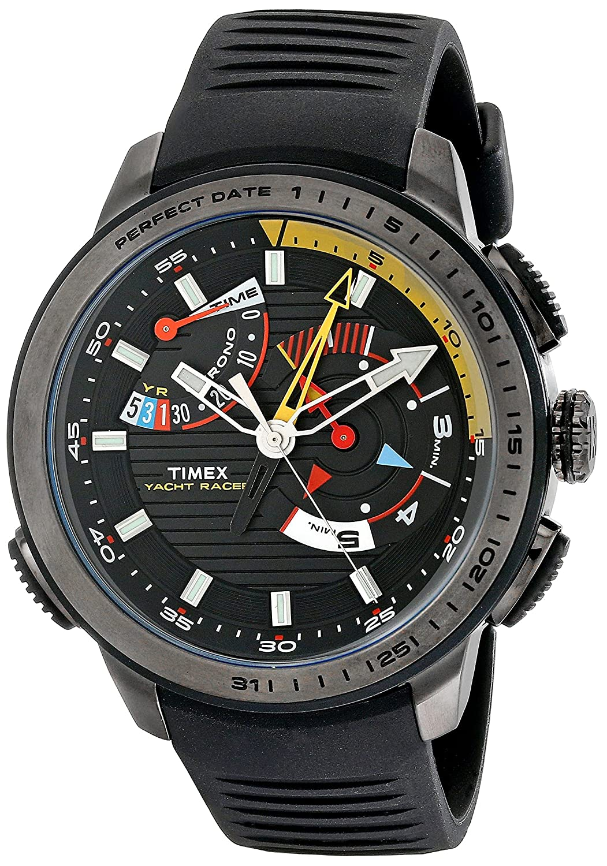 e18bbde64d03 Amazon.com  Timex Men s TW2P44300 Intelligent Quartz Yacht Racer Black  Silicone Strap Watch  Timex  Watches