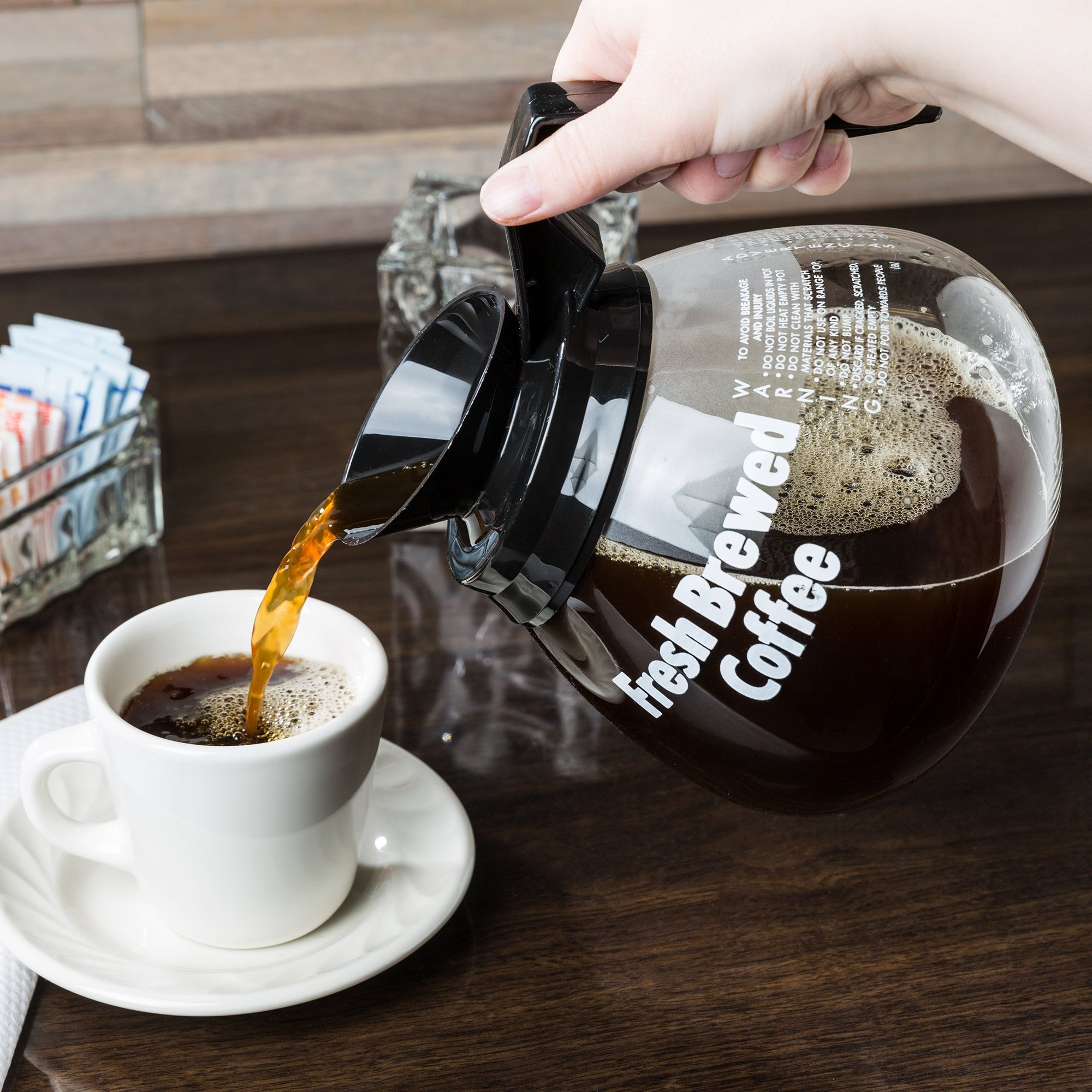 Grindmaster 98005 64 oz. Glass Coffee Decanter with Black Handle - 3/Pack