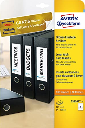 Avery Zweckform C32267-25 - Etiquetas para archivadores (25 hojas, 170 g, 54 x 190 mm), color blanco: Amazon.es: Oficina y papelería