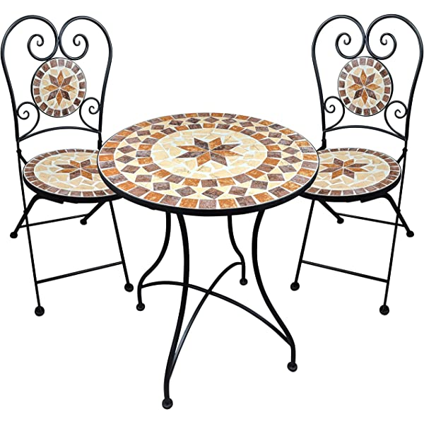 Muebles de jardín Mesa de Mosaico 2 sillas Mesa y sillas Mosaico ...