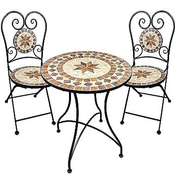 Muebles de jardín mesa de mosaico 2 sillas mesa y sillas mosaico de ...