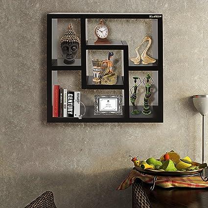 Klaxon Wall Shelf - Decorative Wooden Wall Shelves (Black, DIY ...