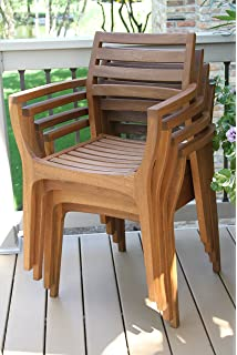 outdoor interiors stacking chairs brown set of 4