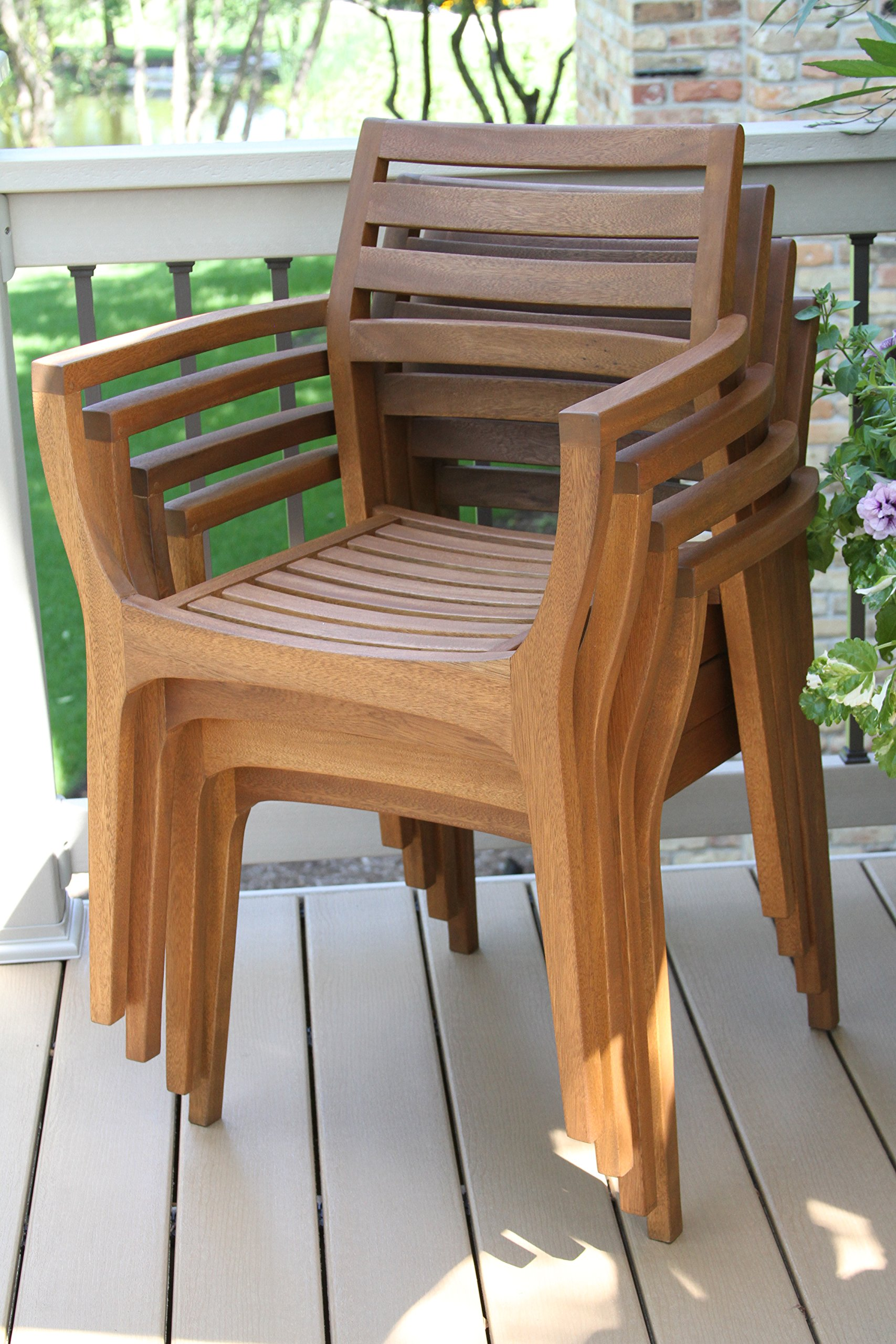 Outdoor Interiors Stacking Chairs, Brown, Set of 4