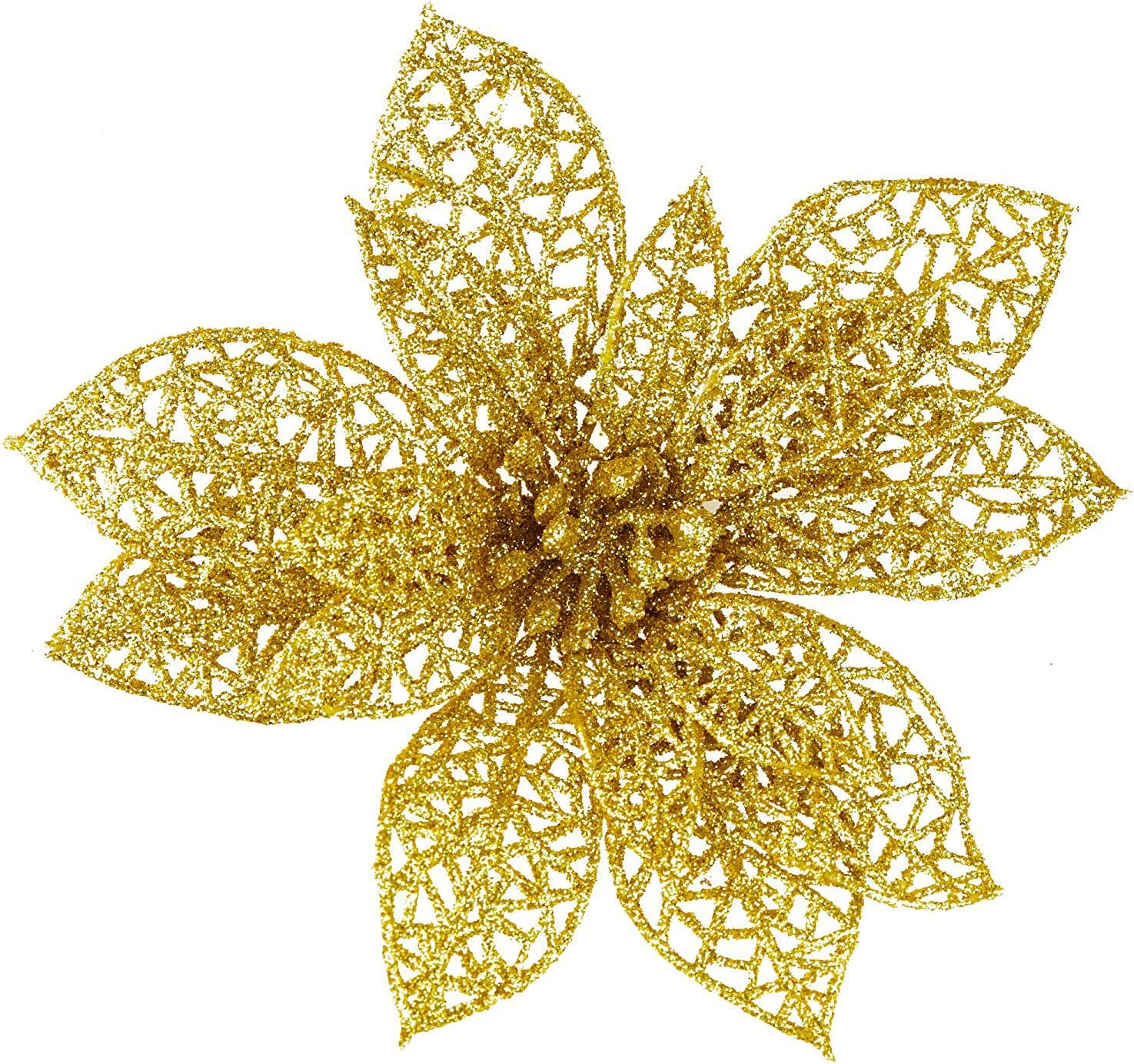 20 Piece Star Gold Ornaments Set, Christmas Tree Decoration, Glittery Bright Gold Star-Shaped Poinsettia