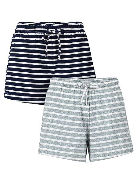 Genuwin Pantalones de Pijama para Mujer de Algodón Peinado, Pantalones Cortos de Estar por Casa
