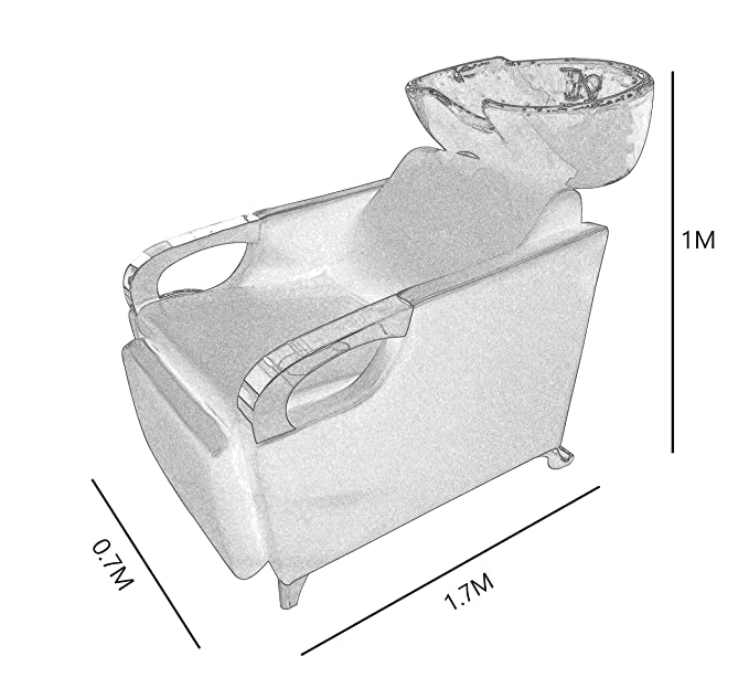 Crisnails® Kit Lavacabezas con Sillones de Salón Peluquería Barberos Kit de 2 Sillones para Lavar Peluquería (Cerámica-Negro)