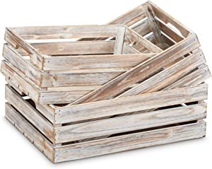 """Barnyard Designs Rustic Wood Nesting Crates with Handles Decorative Farmhouse Wooden Storage Container Boxes, Set of 3 -Whitewashed 17"""" x 12.5"""" (White Washed)"""