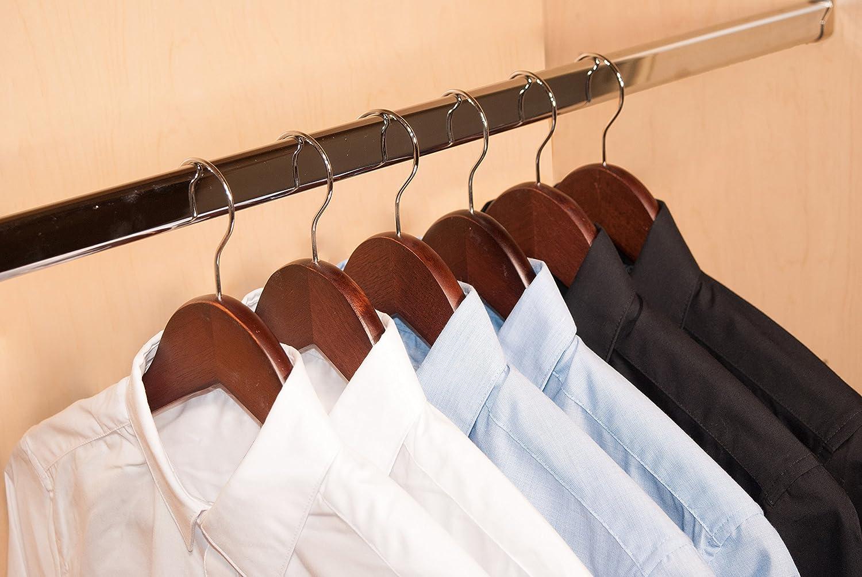 10-Pack Mahogany Finish Topline Classic Wood Shirt Hangers