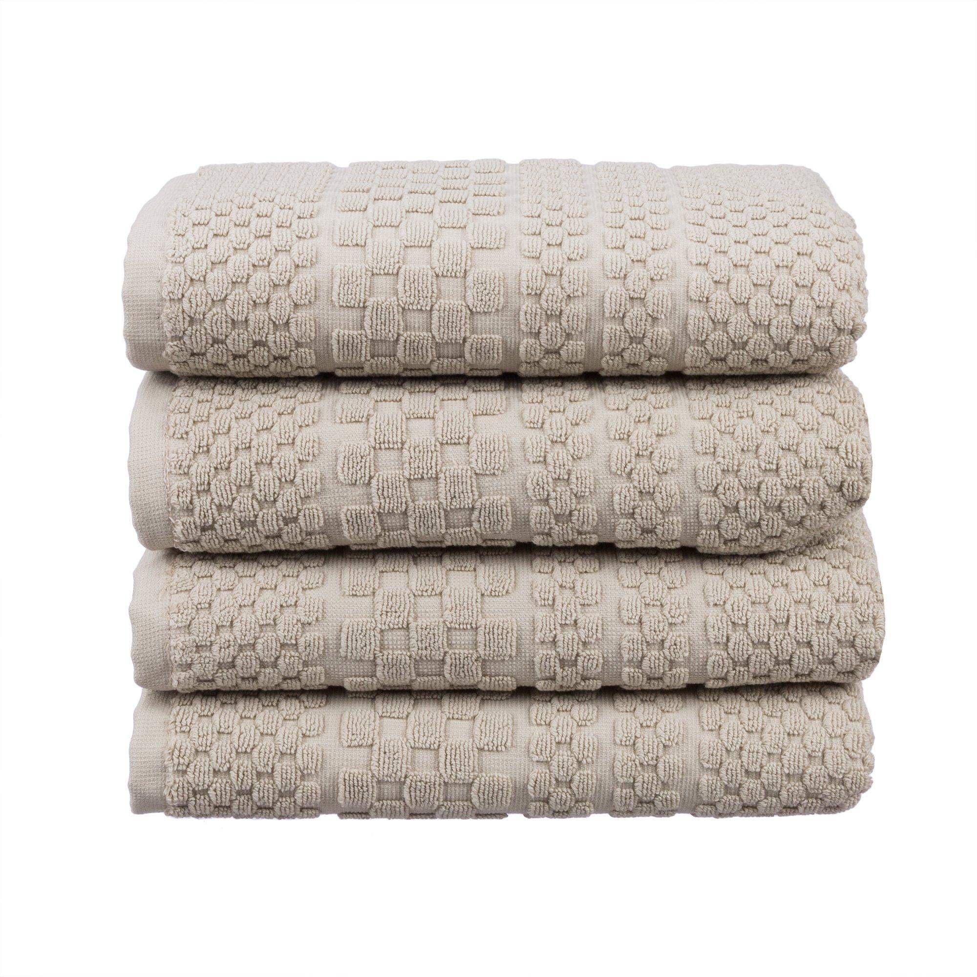 Hobby Home Collection ''Chequers Luxury 100% Turkish Cotton Luxury Hotel & SPA Double Yard Ultra Absorbent & Ultra Soft Ottoman Elegance Design Turkish Bathroom 4-Piece Hand Towel Set (4 x Beige)