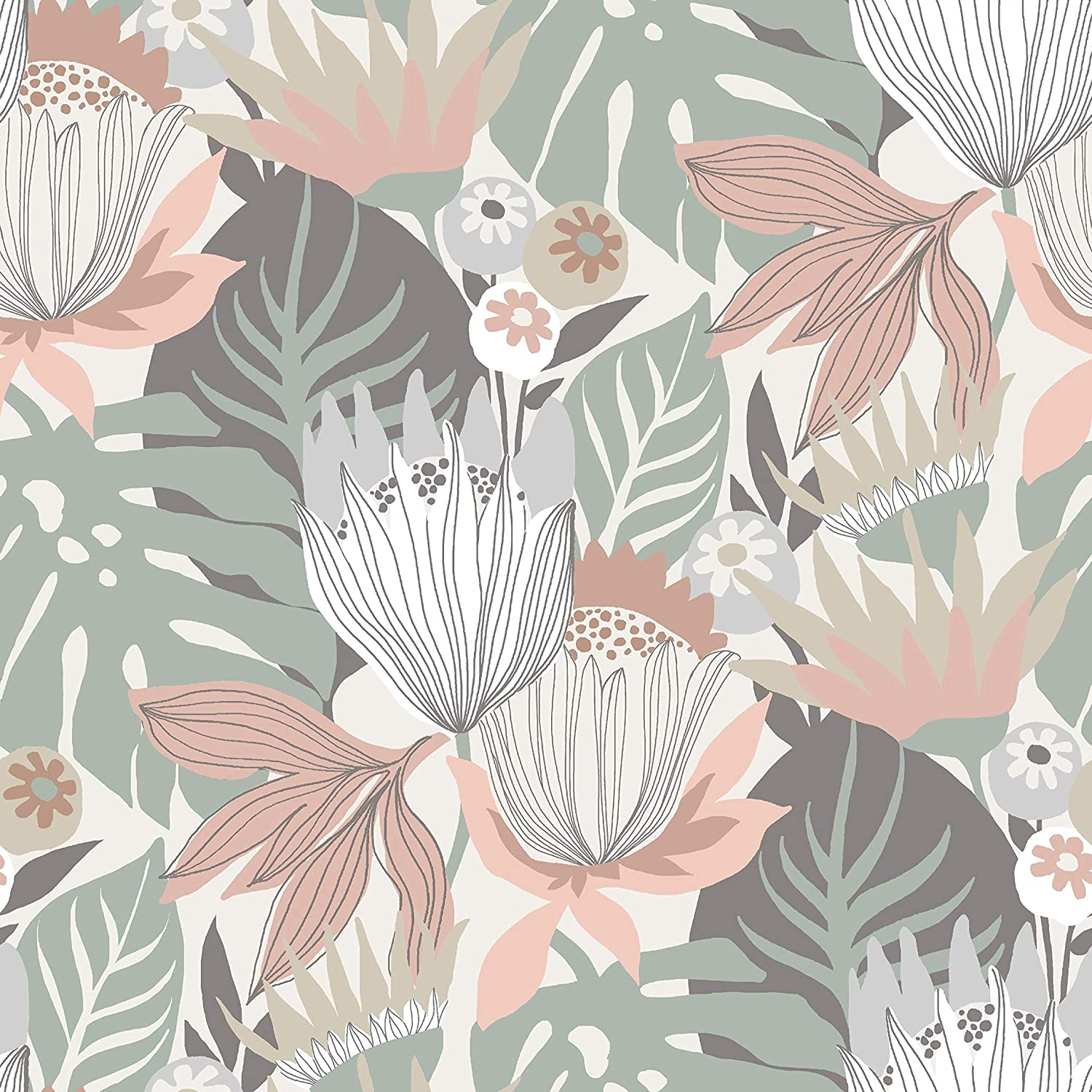 RoomMates Retro Tropical Leaves Pink & Green Peel and Stick Wallpaper | Removable Wallpaper | Self Adhesive Wallpaper