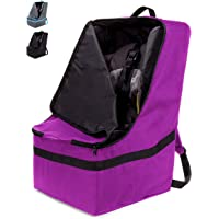 ZOHZO Car Seat Travel Bag — Adjustable, Padded Backpack for Car Seats — Car Seat Travel Tote — Save Money, Make Traveling Easier — Compatible with Most Name Brand Car Seats (Purple with Black Trim)