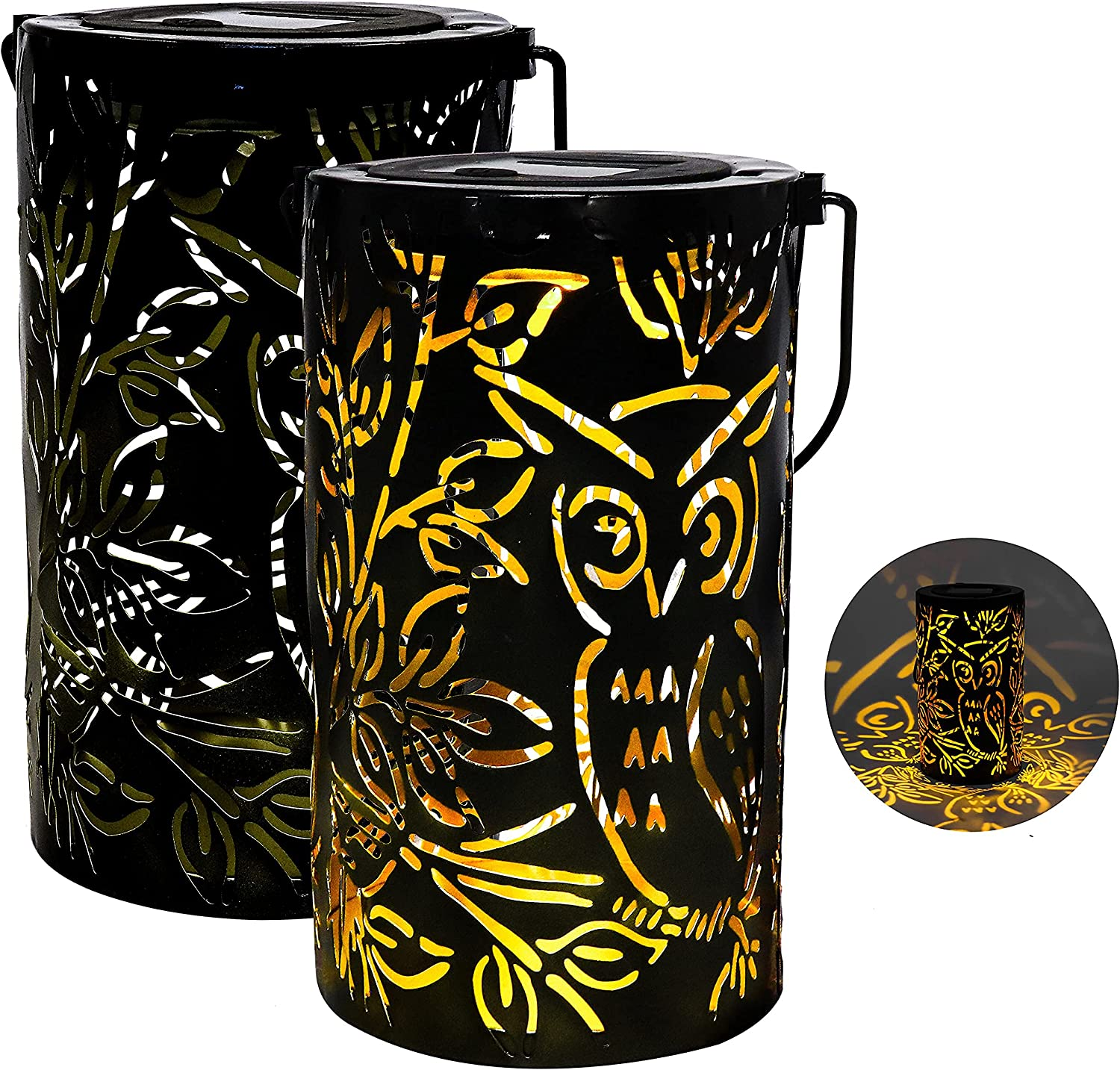 MISIXILE 2 Pack Metal Solar Lantern Outdoor Retro Decorative Solar Outdoor Lanterns with Handle Owl Design Outdoor Garden Lanterns Solar Powered for Yard Tree Fence Patio Warm White