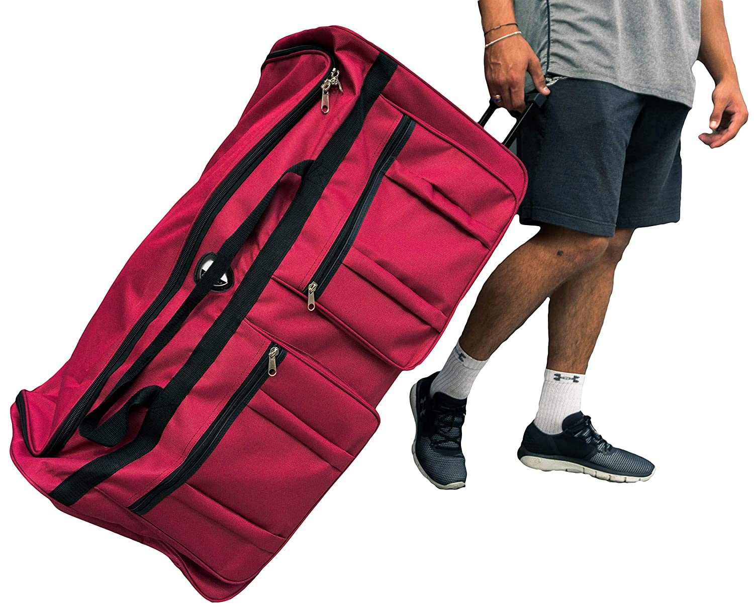 Gothamite 36-inch ICE USA Ro & Co Rolling Wheeled Bag Cargo Duffel Travel Oversize Hockey Sports Duffle 36, Red, XL