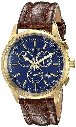 amazon com akribos xxiv men s ak863ygbu quartz chronograph blue akribos xxiv men s ak863ygbu quartz chronograph blue dial gold tone watch