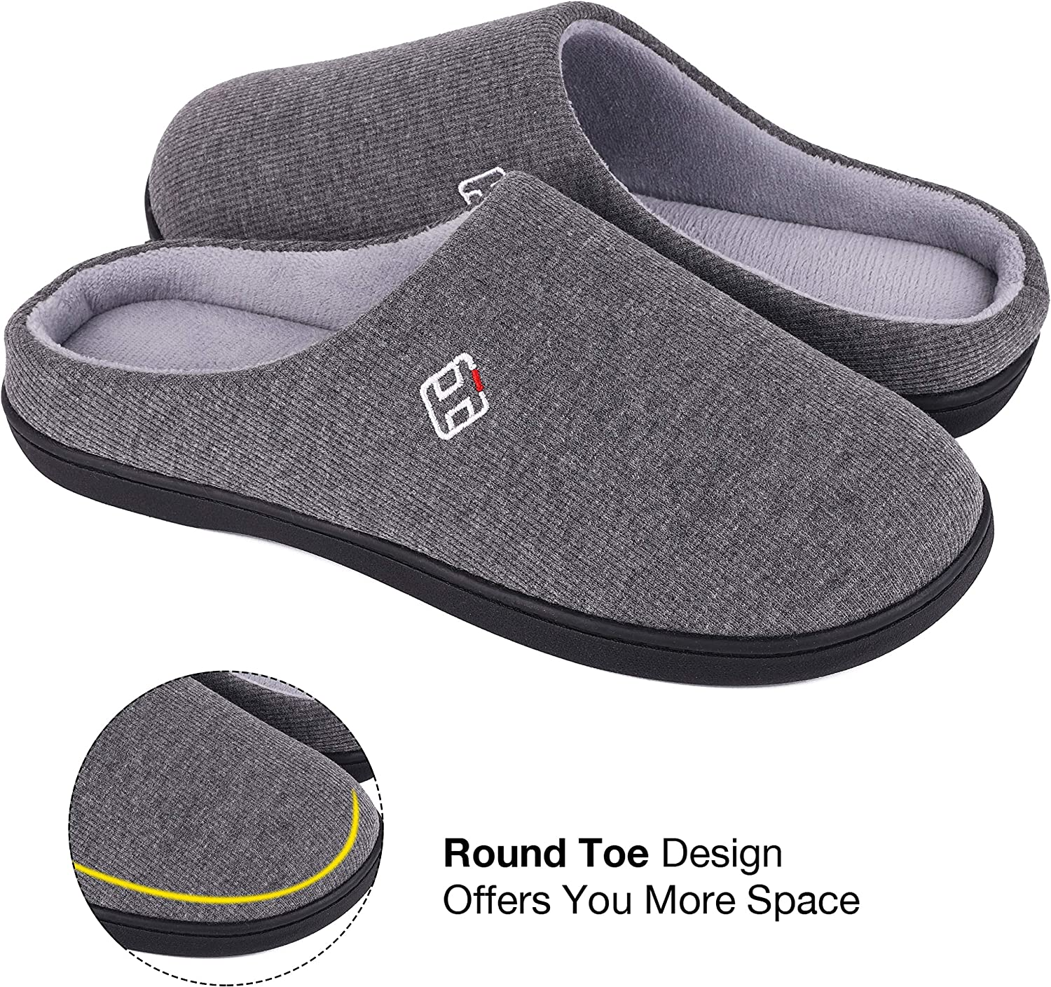 HomeIdeas Mens Classic Memory Foam Plush House Slippers Spring Summer Breathable Indoor//Outdoor Shoes