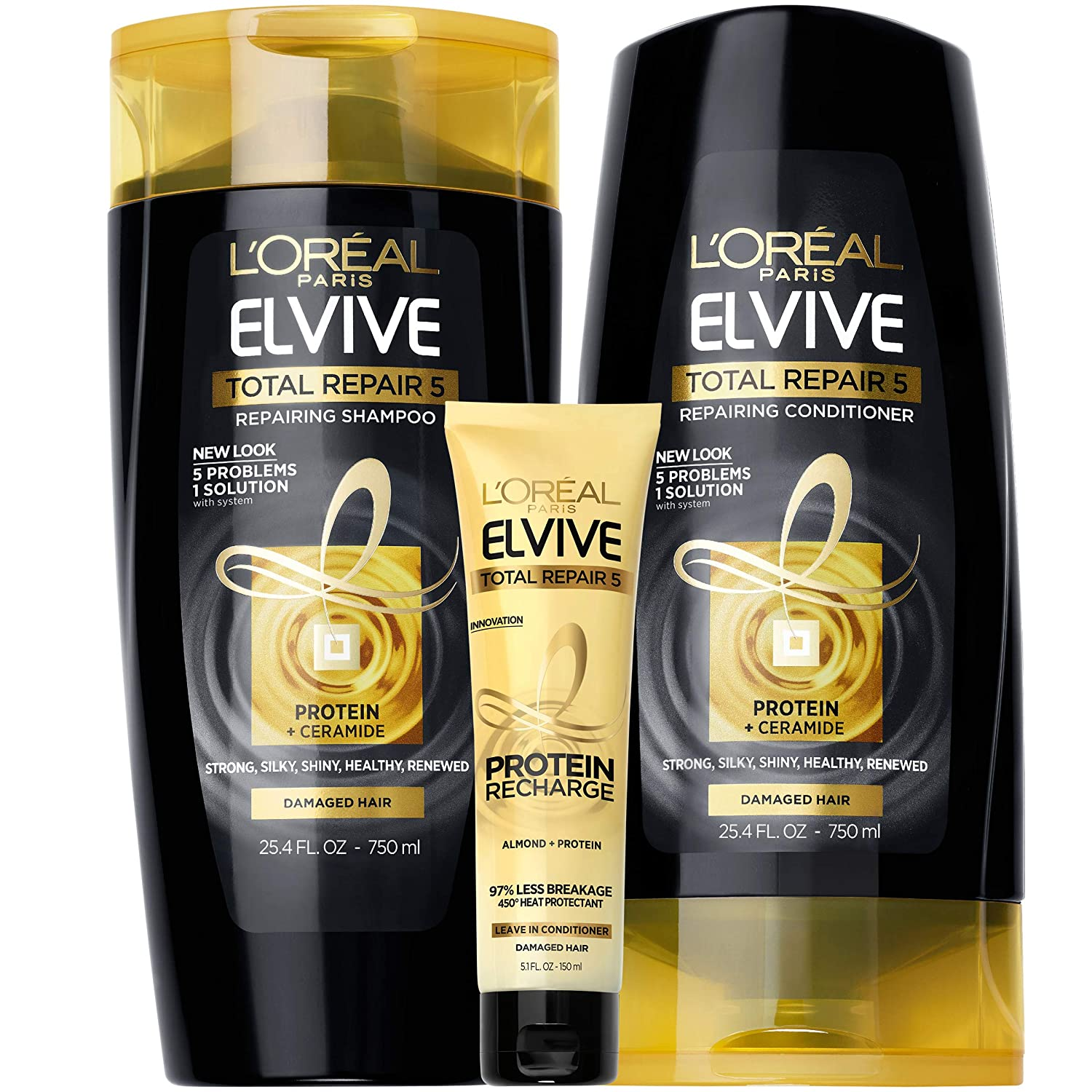 L'Oreal Paris Elvive TR5 Repairing Shampoo, Conditioner and Protein Recharge, for damaged hair, Shampoo and Conditioner with protein and ceramide for strong, silky, shiny, healthy, renewed hair, 1 kit